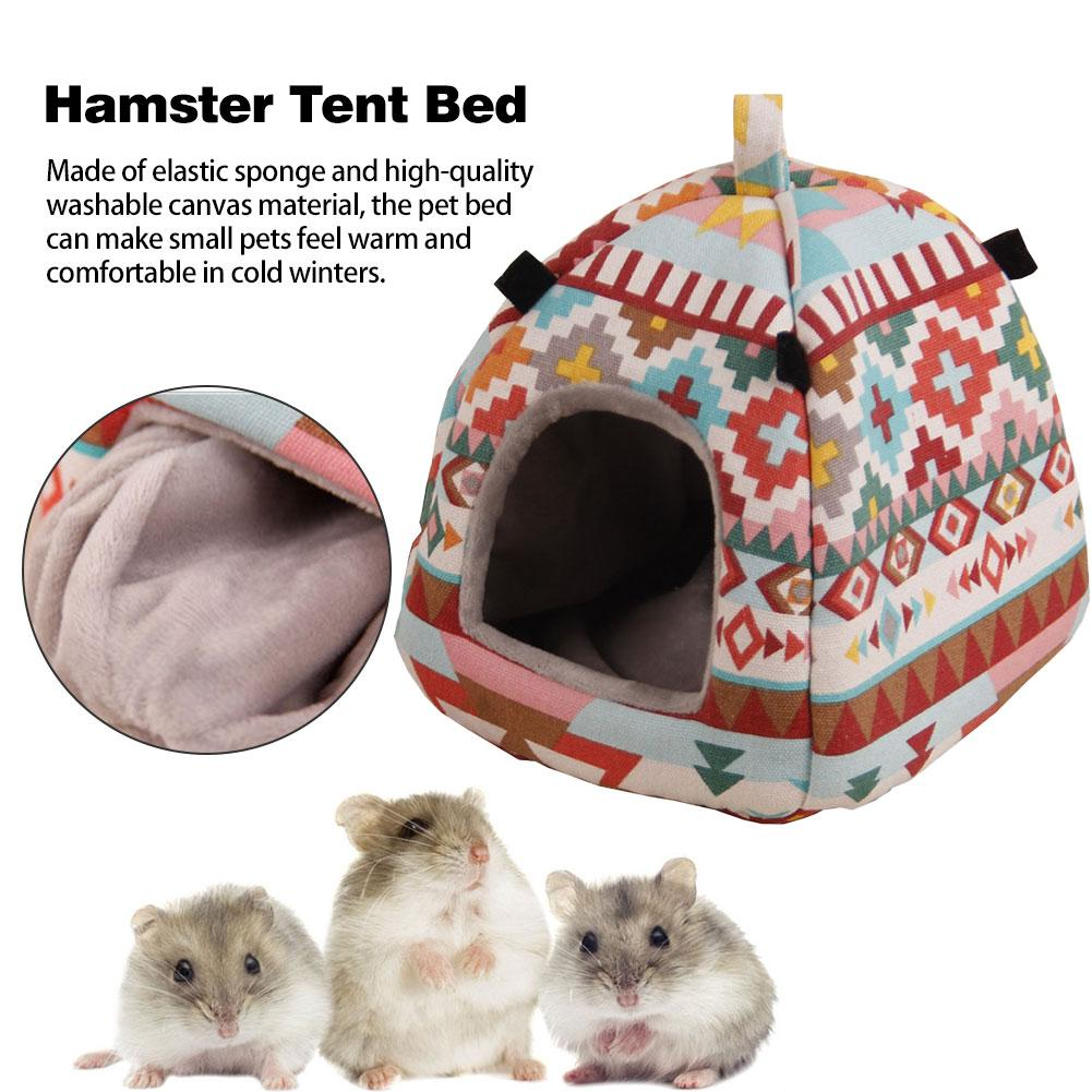 fast-shop 1 x Hamster Bed Keep Warm Winter Hedgehog Cave Round Cotton Beds in the Shape of Animals
