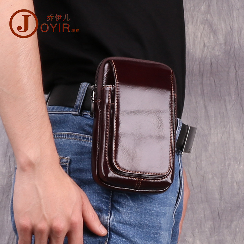 Multi-functional Leather Pocket Casual Outdoor Running Sports Waist Pack Full-grain Leather Retro Men's Bag New Products