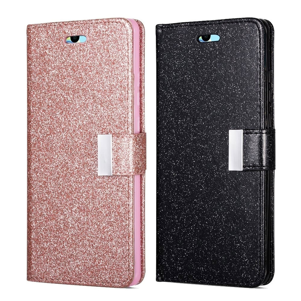 Gold Glitter Wallet Case for Huawei P30 Pro with Wrist Strap,QFFUN Luxury Bling Magnetic Closure Folio Stand Feature PU Leather Phone Cases Flip Cover Bumper and Screen Protector