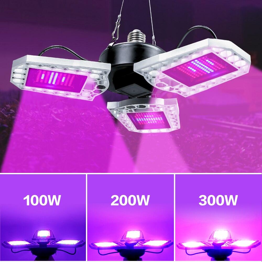 LED פיטו מנורת E27 100W 200W 300W ספקטרום מלא LED לגדול אור AC100-277V Horticole עבור מקורה שתילי פרח לגדול אוהל תיבה