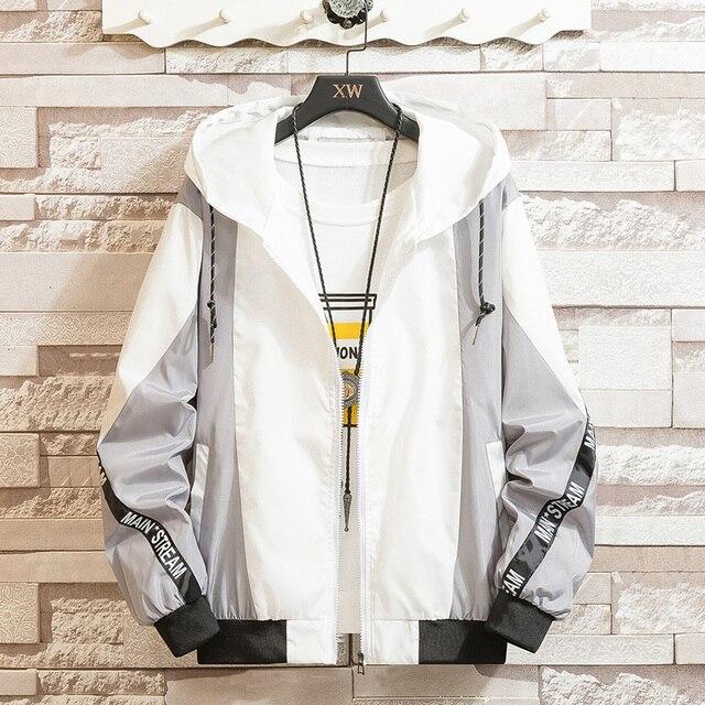 LES KOMAN Spring Autumn New Men Jacket Fashion Printing Casul Streetwear Hooded Splice Sports Coats Outwear S-5XL 2