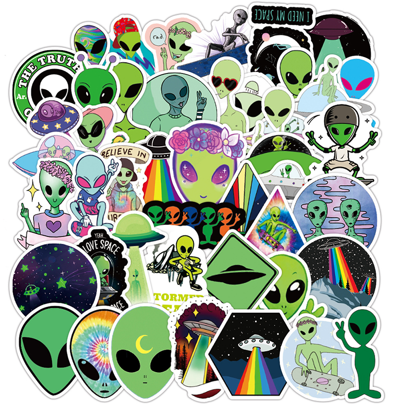 50PCS Outer Space Stickers Alien UFO Astronaut Green Sticker To Laptop Cup Car Motorcyle Notebook Kids Classic Children Toy F5