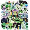 50 adet dış mekan çıkartmalar Alien UFO astronot yeşil etiket Laptop kupası araba motosiklet dizüstü çocuklar klasik çocuk oyuncağı F5