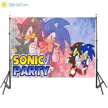 Sensfun Vinyl Photography Backgrounds Sonic Cartoon Backdrop Boy Party Backdrops Custom Happy Birthday Banner Photocall