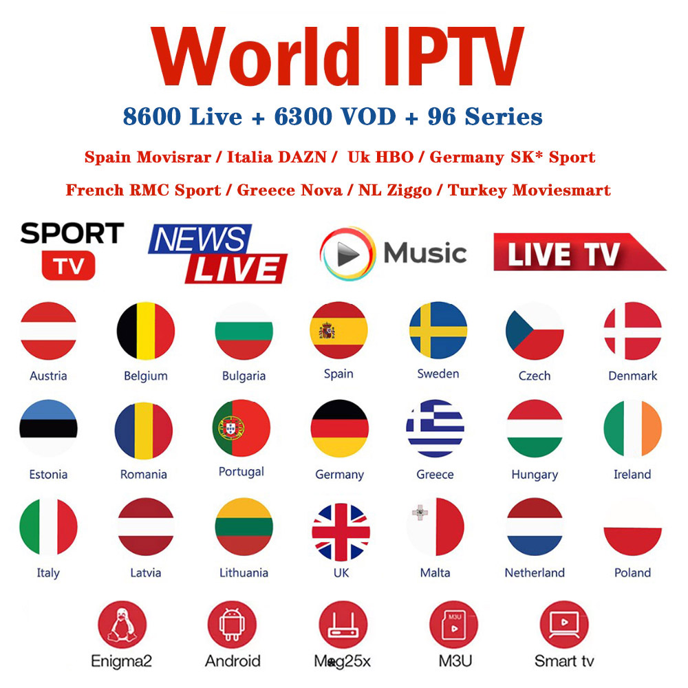 World IPTV M3u Subscription Europe Greece Netherlands Spain Italy DAZN Movistatr Portugal Smart Android TV Box HD HEVC VLC IPTV