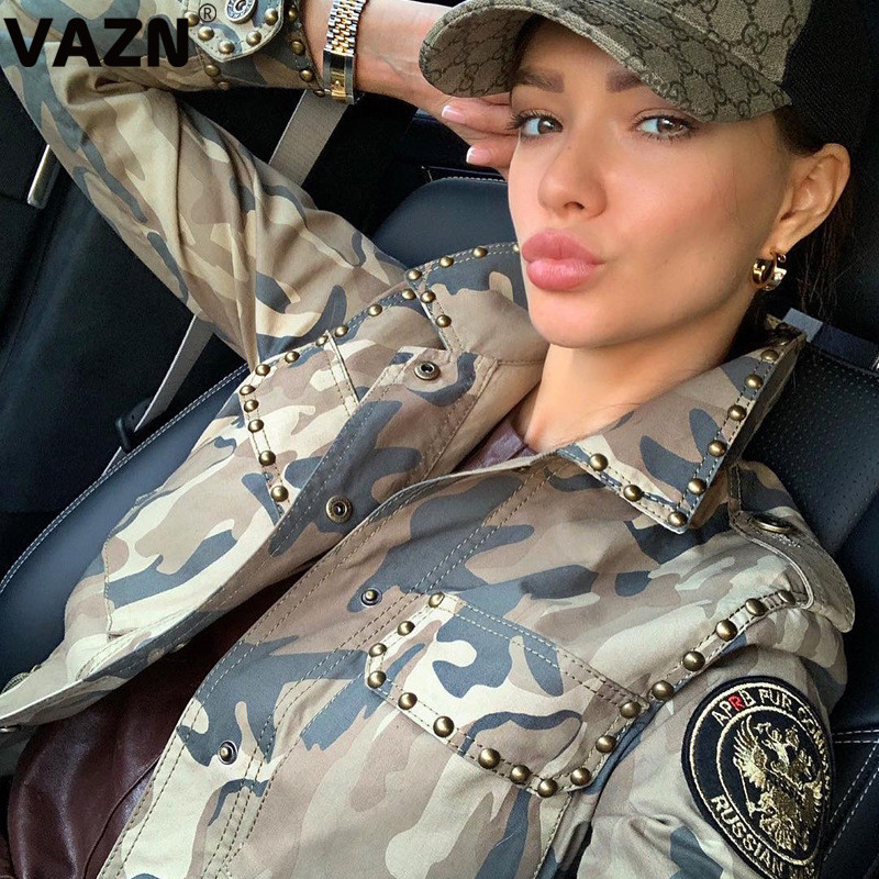 VAZN OSS19460 Special 2019 Autumn Sexy Lady Mid Coats Full Sleeve Camouflage Hidden Button Fly Outwear High Street Rivets Coats