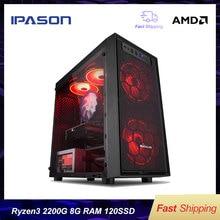 IPASON А3 мини-ПК Ryzen АМД 3 2200Г памяти DDR4 4Г/8г 120г SSD в настольный компьютер win10 баребон система HDMI/VGA с
