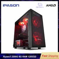 IPASON A3 mini-Gaming PC AMD Ryzen 3 2200G DDR4 4G/8G 120g SSD desktop computer win10 barebone system HDMI/VGA