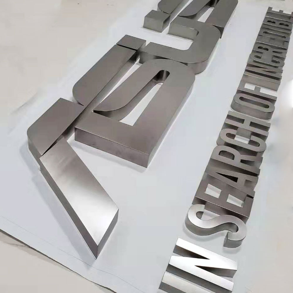 Customized Size Brushed Stainless Steel Aluminum 3D Sign Letters