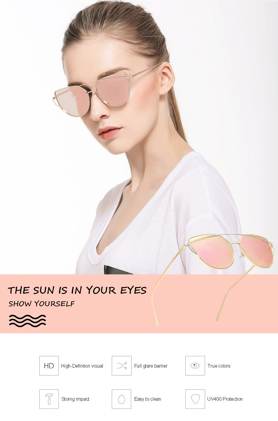 JZU Cat eye Brand Sunglasses Women Designer Mirror Flat Rose Gold Vintage Metal Reflective sunglasses women female Oculos Gafas