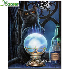 Full square round 5D DIY Diamond Painting Magic bottle diamond Embroidery black cat picture Cross Stitch Rhinestone YY2060(China)