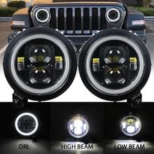 Ronde LED 9inch Koplamp voor Jeep Wrangler JL 2018 2019 halo hi low beam en JL Sport connector plug in play