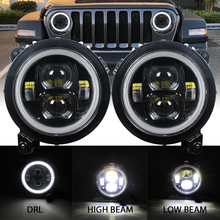 Round LED 9inch Headlight for Jeep Wrangler JL 2018 2019 halo hi low beam and JL Sport connector plug in play