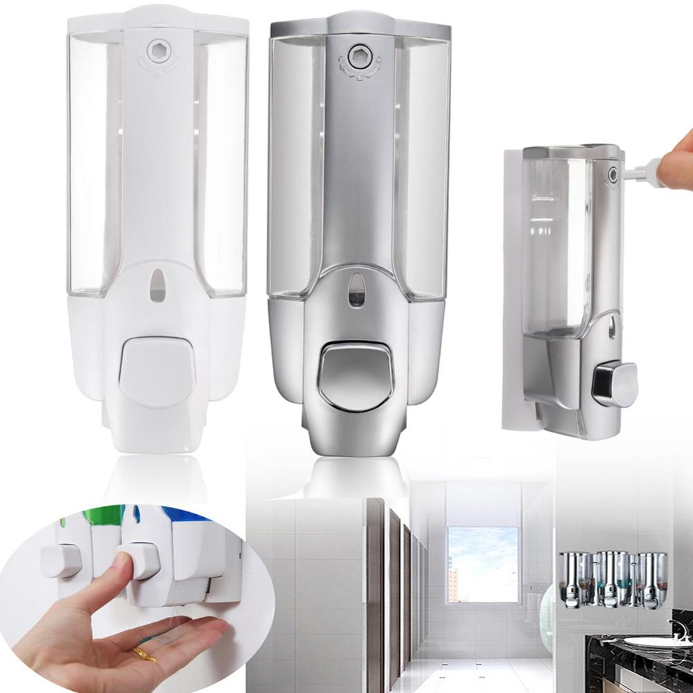 Liquid Soap Dispenser Wall Mount 350ml Bathroom Accessories Plastic Detergent Shampoo Dispensers Double Hand Soap Bottle HVR88