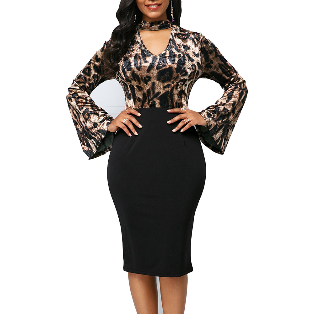 Elegant Sexy V-neck Leopard Patchwork Pencil Dress Women 2020 Summer Autumn Casual Plus Size Slim Office Long Party Dress 5XL