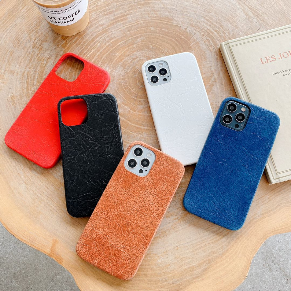 Luxury Leather Plain Candy Color Matte Waterproof Phone Case For iPhone 12 Pro Max