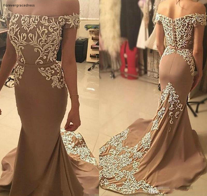 2019 Brown Mermaid Long Prom Dress Pretty Appliques Formal Holidays Wear Graduation Evening Party Gown Custom Made Plus Size