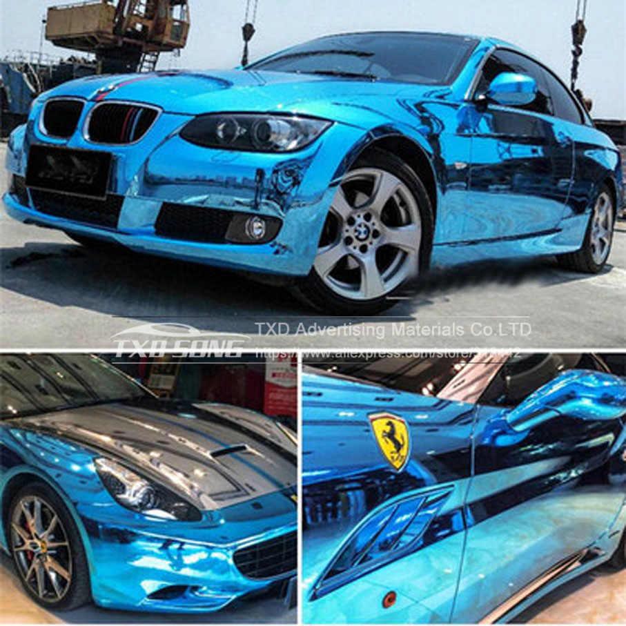 15 色カースタイリング高伸縮性防水 UV 保護ブルークロームミラービニールラップシートロールフィルム車のステッカーデカール
