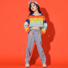 Street Dance Set Children Female Spring Jazz Dance Hip Hop Korean Version BoyS Crop Plaid Shirt Jeans Performance Clothing