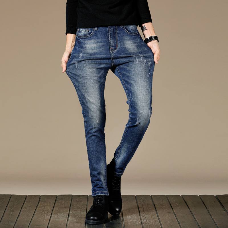 2019 Autumn & Winter New Style Men Casual Jeans Youth Slim Fit Comfortable Versatile Faded Straight-Cut Long Pants
