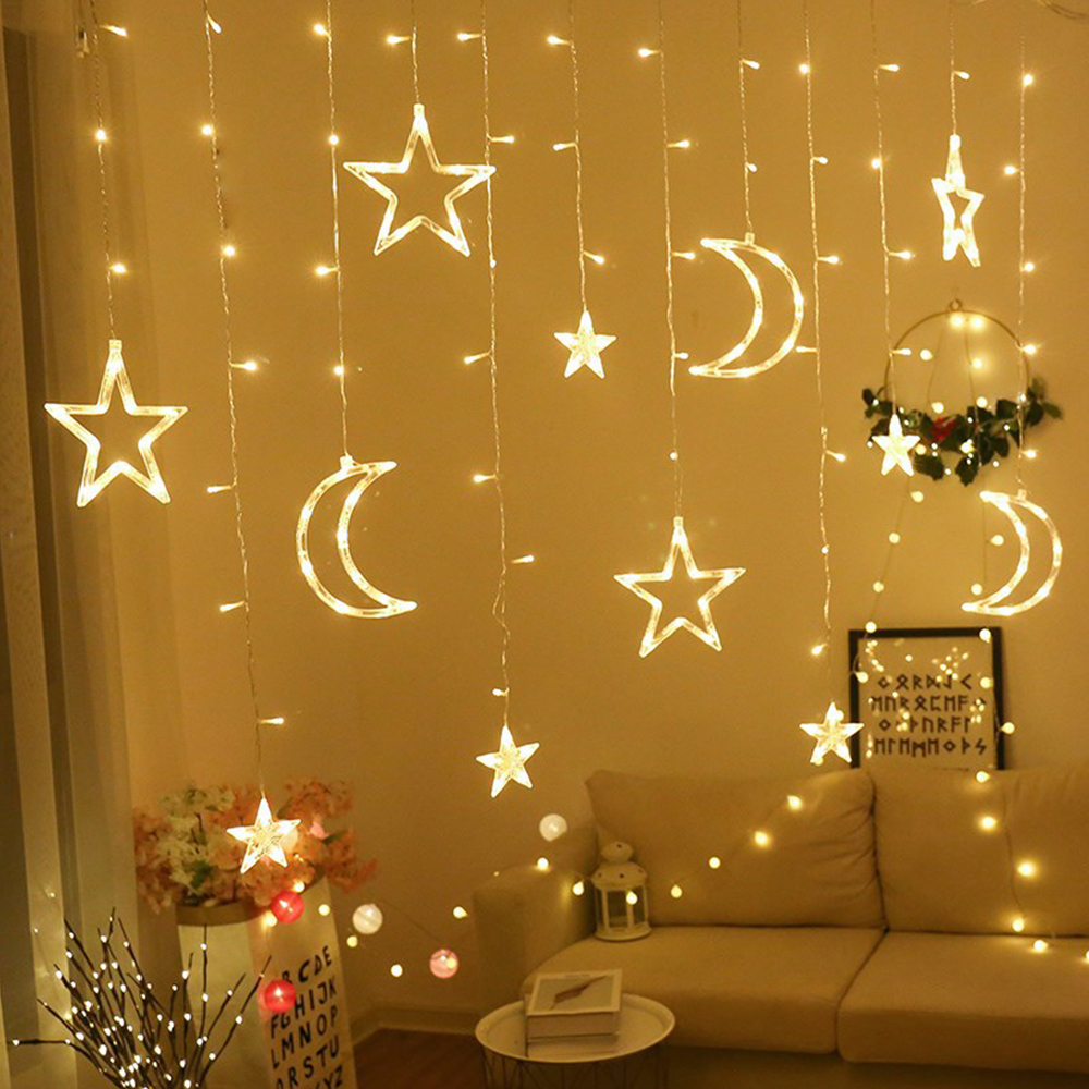 220V LED Star Moon Wish Ball Curtain Light Christmas Tree Garland String Fairy Lights Outdoor For Wedding Party Holiday Decor