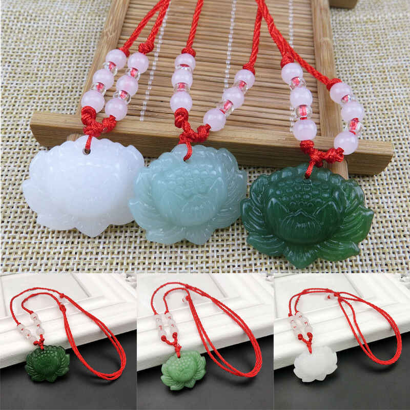 Natural Green Jade Lotus Pendant Beads Necklace Charm Jewellery Fashion Accessories Hand-Carved woman Luck Amulet Gifts