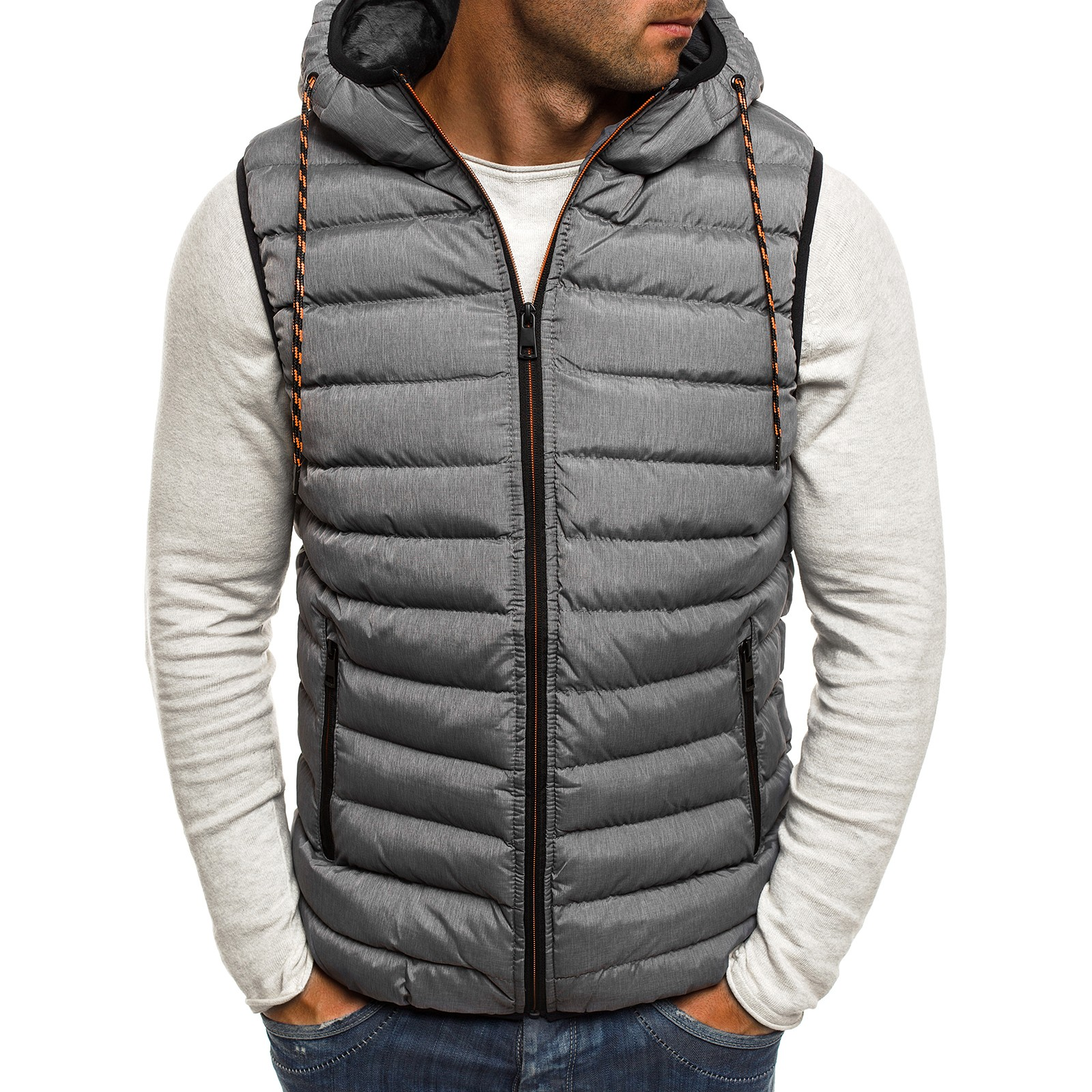 ZOGAA New Men Winter Jacket New Casual Fashion Hood Mens Winter Vests  Winter Vest Plus Size M-4XL Mens Lightweight Jacket 2019
