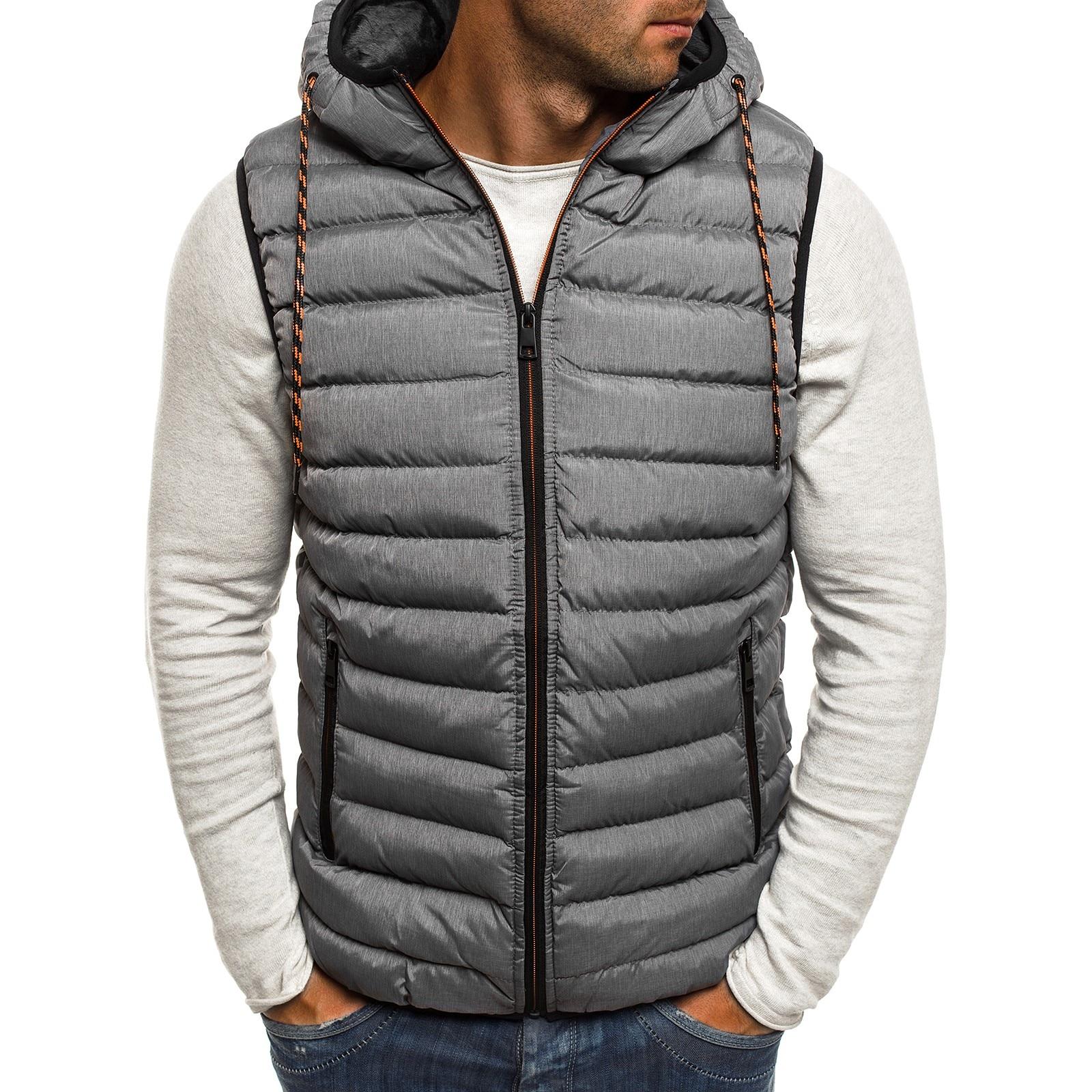 ZOGAA New Men Winter Jacket New Casual Fashion Hood Mens Winter Vests  Winter Vest Plus Size M-4XL Mens Lightweight Jacket 2019