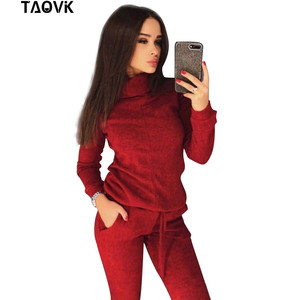 Image 4 - TAOVK Womens knitted Suits Spring sweater set Mid Line Turtleneck Pullover Sweater Pants two pieces Sets warm Jogging Costumes