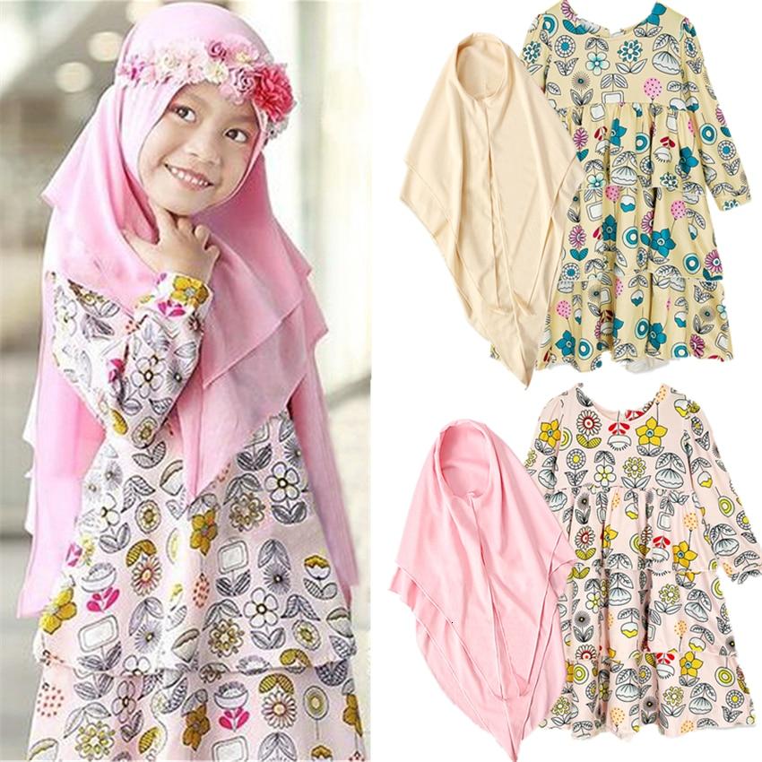 New Muslim Hijab Dress Girls Abaya Dubai Arab Turkish Print Kaftan Outfit Islamic Clothing for Kids Dresses Clothes Scarf Set