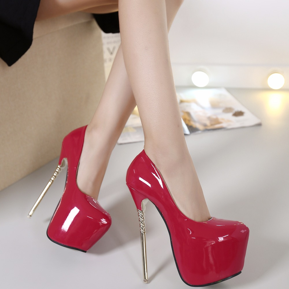 Sexy Women Concise Super High Thin Heels 16cm Platforms 7CM Shoes Round Toe Pumps Wedding Party Leather Shoes Zapatos ME-95