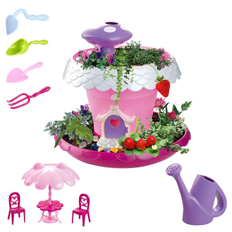 Garden House DIY Assembly Toy Mini Planting Tools Set Kids Girls Early Education R7RB