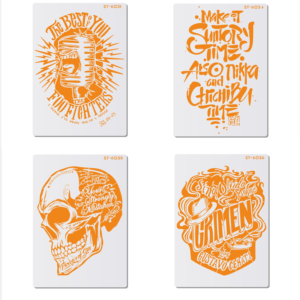 Skull & Microphone Pattern Lace Side Cake Stencil For Walls Painting Fondant Cake Decorating Supplies Pastry Baking Tool