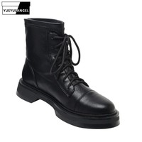 Fashion Women Leather Motorcycle Ankle Boots Lace Up High Top Stretchy Safety Riding Shoes Casual Low Heel Footwear Female Boots
