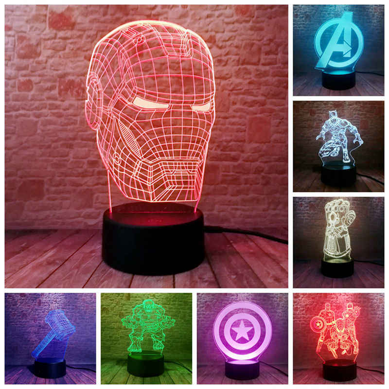 Marvel Iron Man Figurine 3D Ilusi LED Lampu Malam Berwarna-warni Lampu Avengers Endgame Spiderman Gambar Ironman Masker Model Mainan