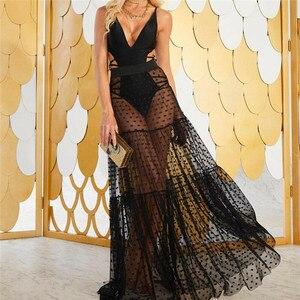 2020New Женская пикантная юбка с высокой талией, прозрачная длинная юбка в горошек, летняя прозрачная Длинная пляжная юбка макси, купальное пла...