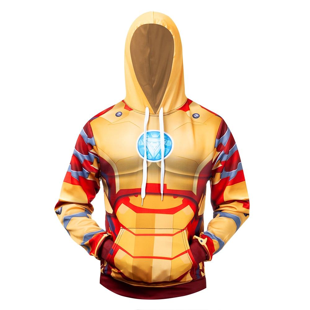 Superhero Iron Man Hoodie Zipper Jacket Hooded Coat Cosplay Sweatshirt Costume