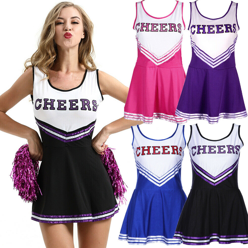 Womens Lady Cheerleader Costume School Girl Outfits Fancy Dress Cheer Leader Uniform Purple Black Pink Blue Dress