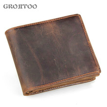 GROJITOO 2020 New Crazy Horse Leather Men's Wallet Men's short Genuine Leather Wallet  Vintage Business Leather Card Purse