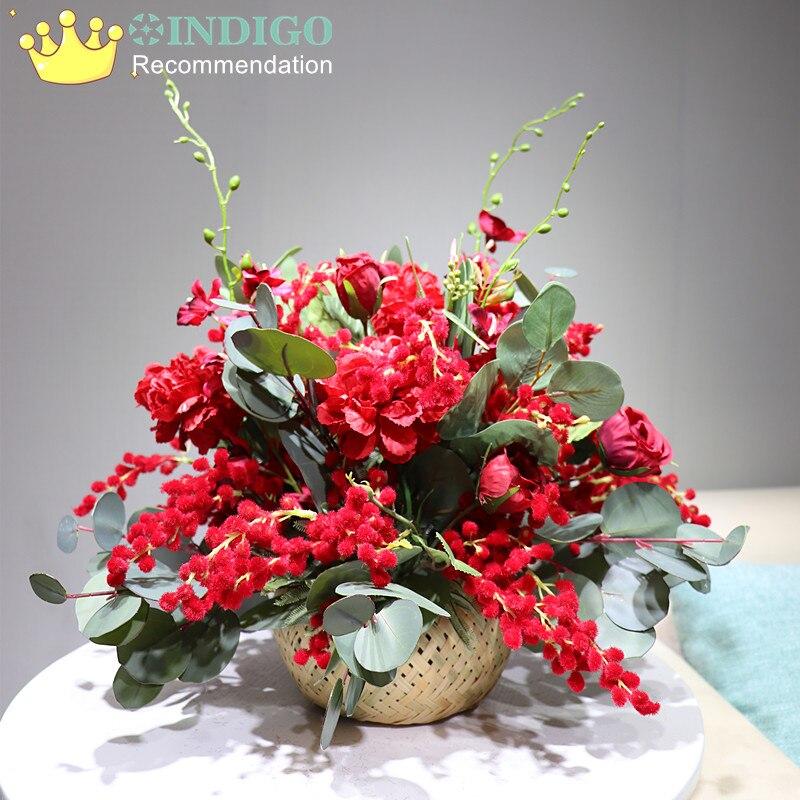 Индиго дизайн 1 комплект красный Рождество Мимоза бонсай цветок композиция с вазой искусственный цветок украшение стола Бесплатная доставка - 2