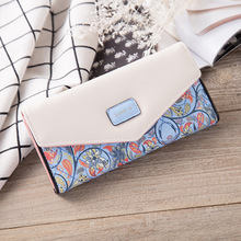 New fashion small floral rhombus contrast color envelope buckle long wallet wallet trendy female bag clutch bag wallet цена 2017