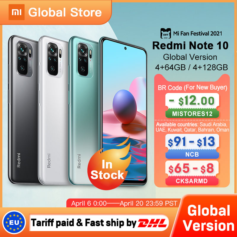 Глобальная версия Xiaomi Redmi Note 10 4 ГБ 64 ГБ/4 ГБ 128 Гб телефон Snapdragon 678 AMOLED дисплей 48MP Quad Camera 33 Вт