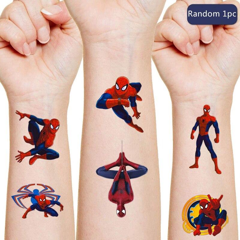 Spiderman disney tatuagem original adesivos aleatórios 1 pçs figura de ação super heróis dos desenhos animados meninos meninas natal presentes de aniversário