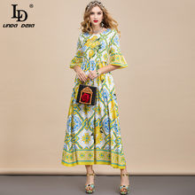LD LINDA DELLA Summer Fashion Designer Dress Women Flare Sleeve paillettes perline stampa limone Ladies Holiday elegante abito Midi