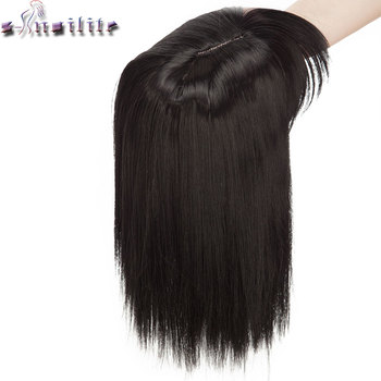 S-noilite 10inch 4*2 toupee hair extension Synthetic clip in topper hair with bangs straight top hair hairpiece for women beard 1