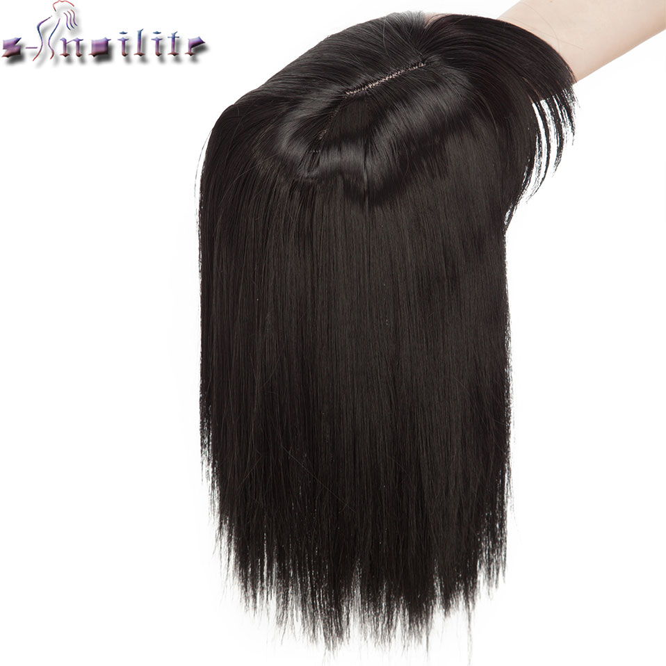 S-noilite 10inch 4*2 Toupee Hair Extension Synthetic Clip In Topper Hair With Bangs Straight Top Hair Hairpiece For Women Beard