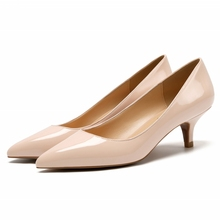 Thin Heels Pointed Toe Pumps Women Spring Suede Leather/Soft Leather/Patent Leather Med Heel Casual Office Lady OL Shoes C0093 ladylike women s pumps with patent leather and pointed toe design
