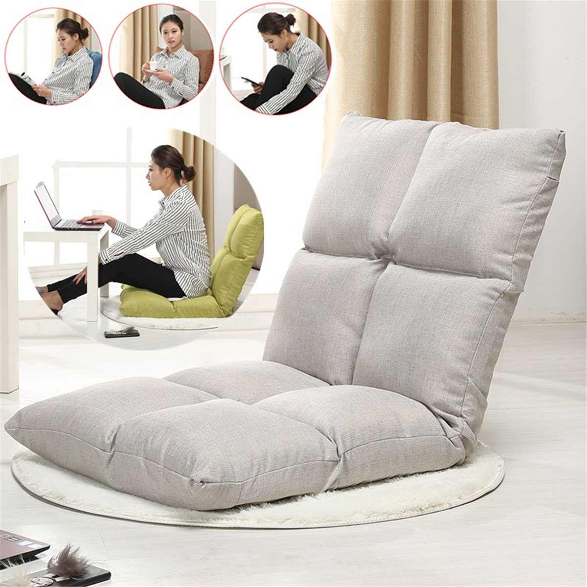 Large Small Lazy Sofa Tatami Bed Folding Back Single Bedroom Small Bed Room Balcony Net Red Chair Pouf Puff Couch image