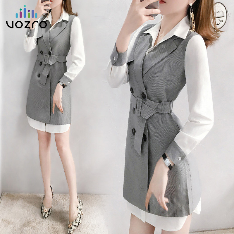 VOZRO 2019 Early Autumn Suit Woman Temperament Shirt Sexy Winter Party Mini Dress Increase Vest Twinset Small Real Vestido