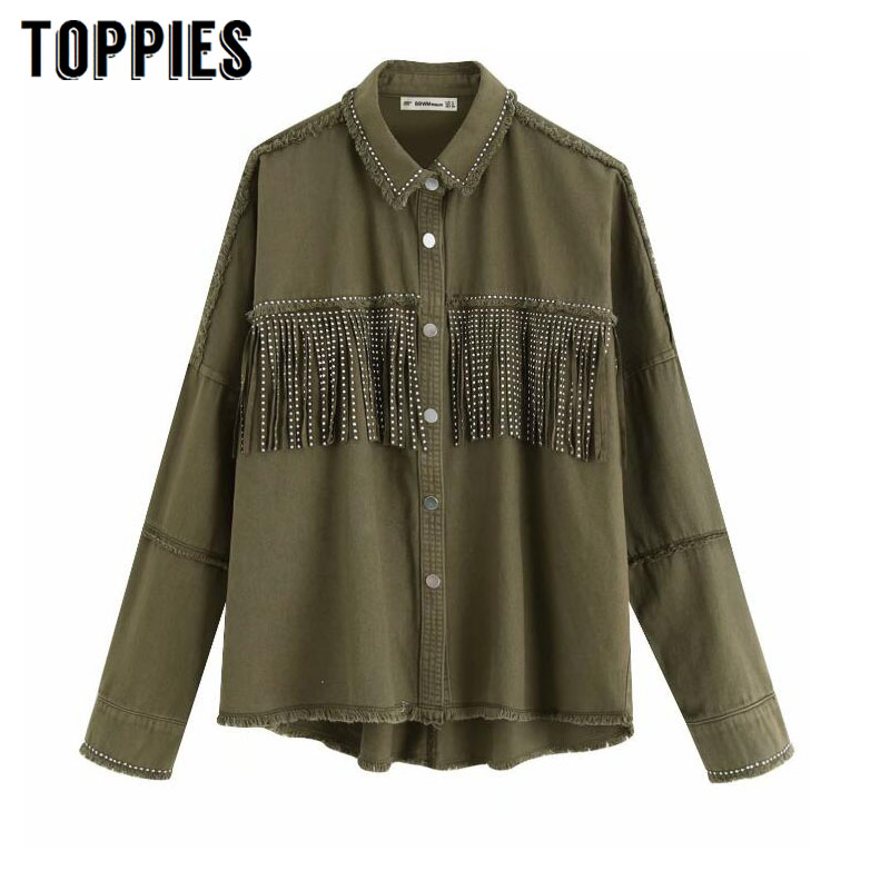 2020 Spring Tassels For Breast Denim Jacket Loose Army Green Button Coat Woman Jeans Jacket Irregular Hem Streetwear